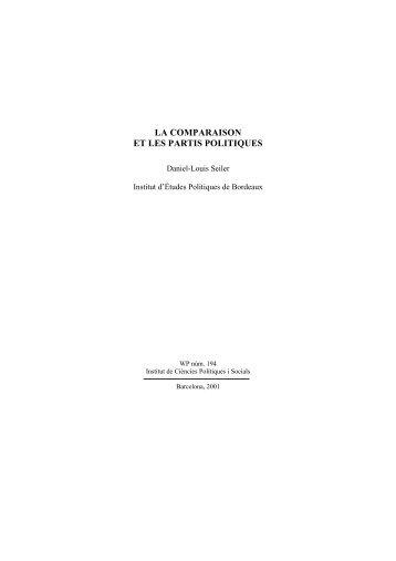 LA COMPARAISON ET LES PARTIS POLITIQUES - ICPS