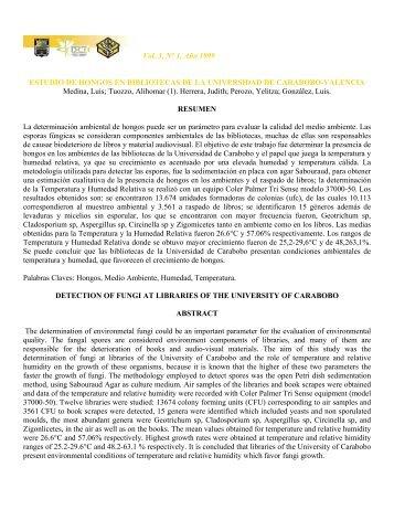 Estudio de hongos en bibliotecas de la Universidad de Carabobo ...