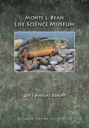 2011 - Monte L. Bean Life Science Museum - Brigham Young ...