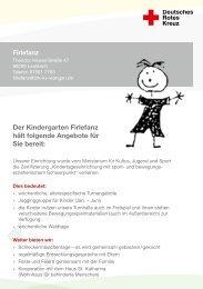 Der Kindergarten Firlefanz hält folgende Angebote für Sie bereit: