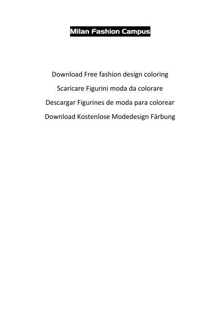 Download Free Fashion Design Coloring Scaricare Figurini Moda Da