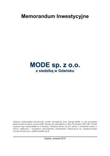 MODE sp. z o.o. - Agencja Rozwoju Pomorza SA