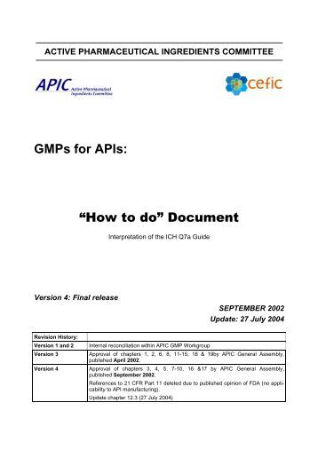 GMPs for APIs - Active Pharmaceutical Ingredients Committee - Cefic