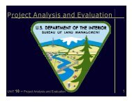 Project Analysis and Evaluation - Bureau of Land Management