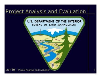 Project Analysis and Evaluation - Bureau of Land Management