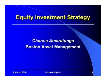 Equity Investment Strategy