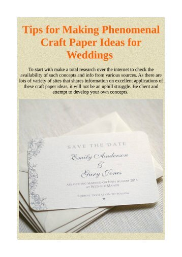 Tips for Making Phenomenal Craft Paper Ideas for Weddings