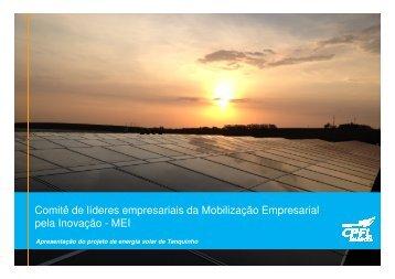 Apresentação do Projeto de Energia Solar de Tanquinho