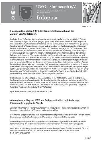 Infoblatt 31.07.09 VS - UWG-Simmerath