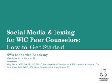 Social Media & Texting for WIC Peer Counselors: How to Get Started