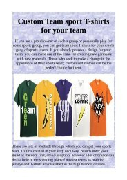 Custom Team sport T-shirts for your team
