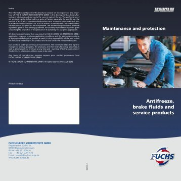 Antifreeze, brake fluids and service products - fuchs europe ...