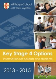 Key Stage 4 Options 2013 - 2015 - Millthorpe School York