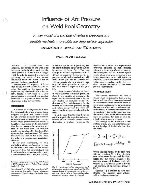 Influence of Arc Pressure on Weld Pool Geometry