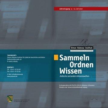 Programm - Simon-Dubnow-Institut