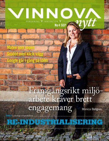 Framgångsrikt miljö- arbete kräver brett engagemang - Vinnova