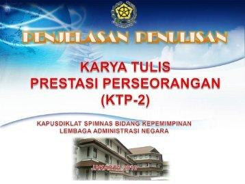 Pengajuan TOR KTP2 - Pusdiklat SPIMNAS Bidang Kepemimpinan