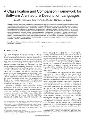 A classification and comparison framework for ... - IEEE Xplore