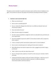 Key questions from the plenary question and answer ... - ESCalate