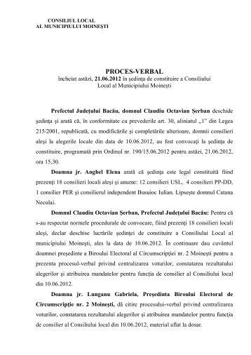 Proces Verbal Sedinta Constituire din 21 06 2012 - Primăria Moineşti