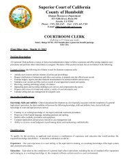 courtroom clerk - Superior Court of California, County of Humboldt