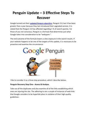 Penguin Update – 3 Effective Steps To Recover