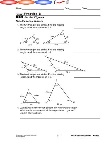 Worksheet on Similar Figures with Multiple Choice