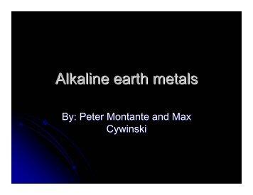 Alkaline earth metals - Nichols School