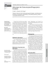 Störungen der Granulozyten(Phagozyten)- Funktion