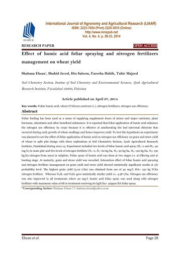 Effect of humic acid foliar spraying and nitrogen fertilizers management on wheat yield