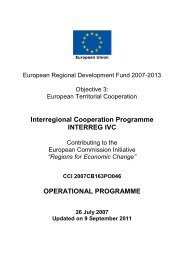 Operational Programme - Interreg IVC