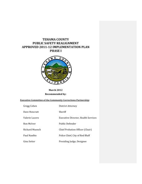 Tehama County - Chief Probation Officers of California