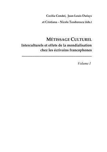 MÉTISSAGE CULTUREL Interculturels et effets de la mondialisation ...