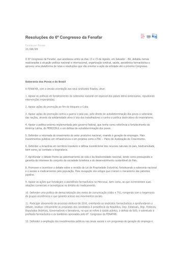 Resoluções do 6º Congresso da Fenafar - sindifars