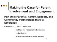 Making the Case for Parent Involvement and Engagement