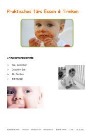 Praktisches fürs Essen & Trinken Inhaltsverzeichnis - punda.ch