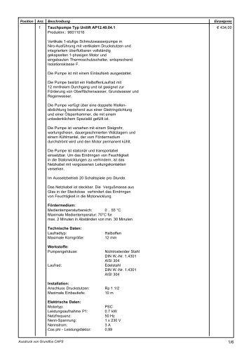 1 € 434,00 Tauchpumpe Typ Unilift AP12.40.04.1 Produktnr - Pumpen