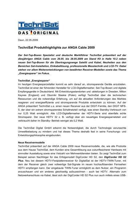TechniSat Produkthighlights zur ANGA Cable 2009 - PresseBox