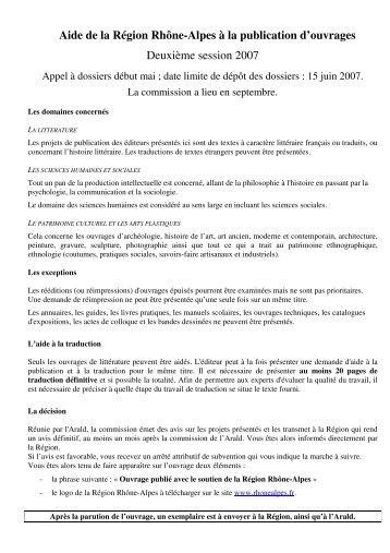 Aide de la Région Rhône-Alpes à la publication d'ouvrages ... - Arald