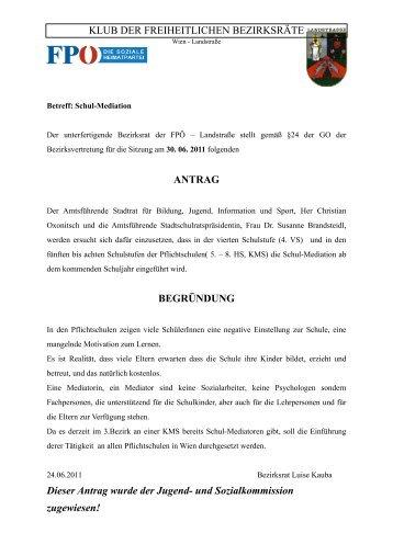 BV-Sitzung Juni 2011 - Landstraßer FPÖ