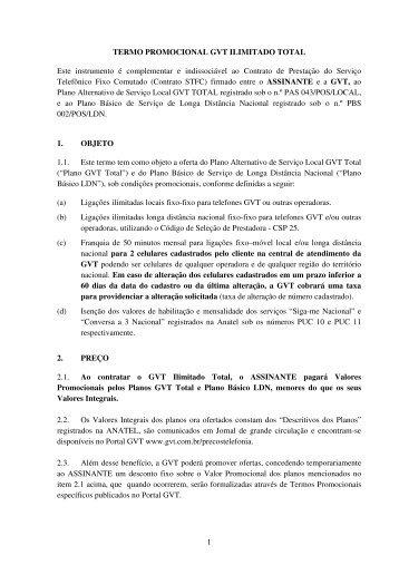 Termo Promocional GVT na Ilimitado Total
