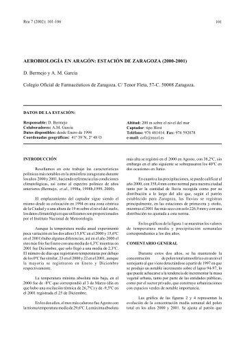 Aerobiología en Aragón: estación de Zaragoza 2000-2001 - LAP