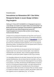 Innovationen zur Reisesaison 2011: Das Online Reiseportal Opodo ...