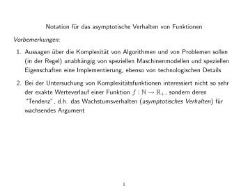 Notation für das asymptotische Verhalten von Funktionen ...