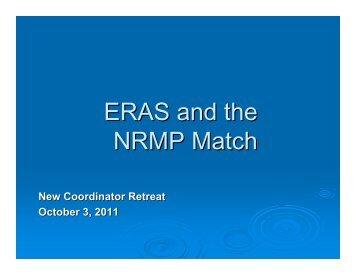 ERAS and the NRMP Match