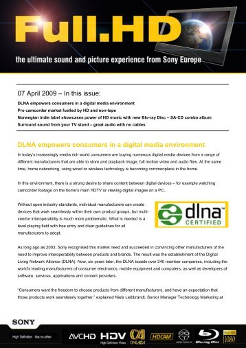 07 April 2009 – In this issue: DLNA empowers ... - Pure Audio Blu-ray