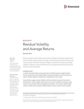 Residual Volatility and Average Returns