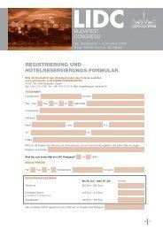 REGISTRIERUNG UND HOTELRESERVIERUNGS-FORMULAR