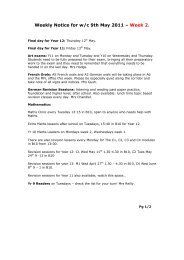 Weekly Notice for w/c 9th May 2011 – Week 2.