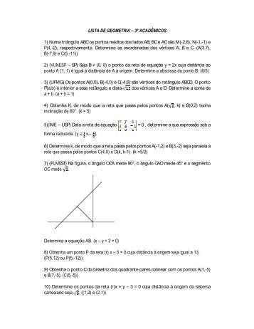 LISTA DE GEOMETRIA 3º ACADÊMICOS 1) Numa triângulo ABC os ...